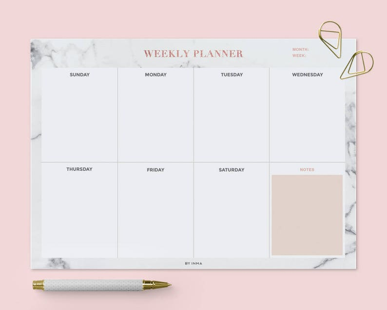 photograph relating to Printable Embroidery Placement Ruler identify Weekly planner marble, PRINTABLE planner, Table planner, Weekly calendar printable, Rose gold planner, Sunday Monday begin, A4 letter