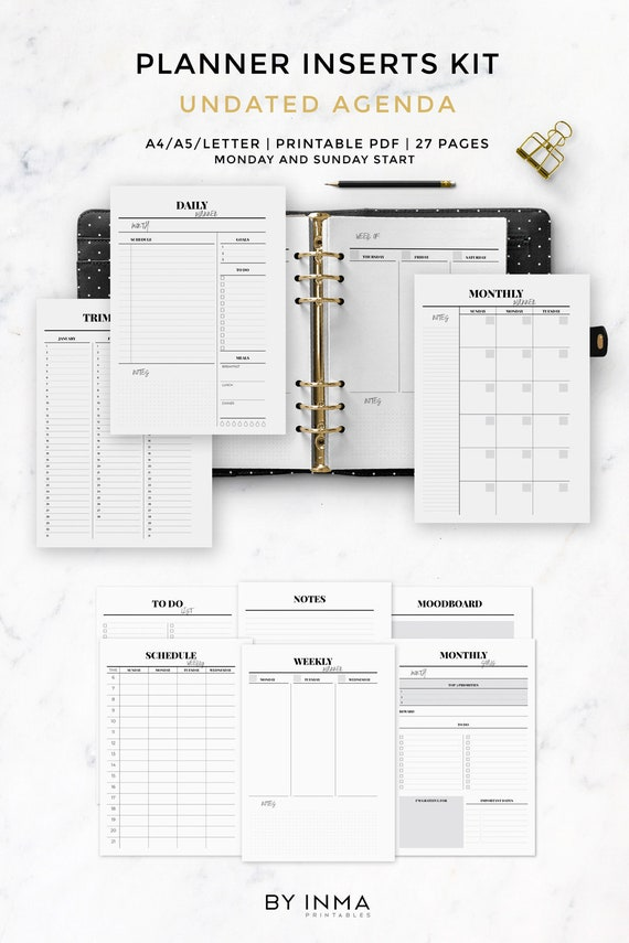 photo regarding Printable Planner Inserts called Minimalist planner inserts, Printable planner, Kikki inserts, Filofax inserts, planner internet pages, Undated plan, Weekly planner, Day by day planner