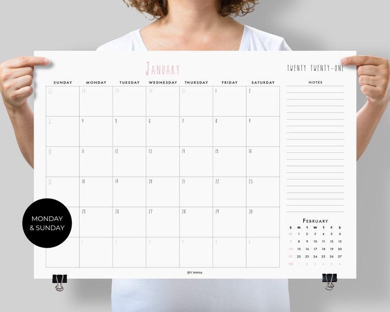 Wall calendar 2021 large PRINTABLE Desk calendar 2021 | Etsy