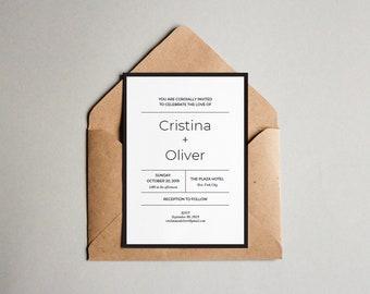 Wedding Invitation Printable Editable Template, DIY Wedding Printable, Minimalist wedding invitation, Modern invite, PDF Instant Download