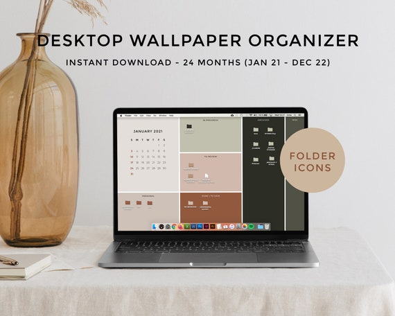Computer Desktop Calendar 2022.Desktop Wallpaper Organizer Calendar 2021 2022 Minimalist Etsy