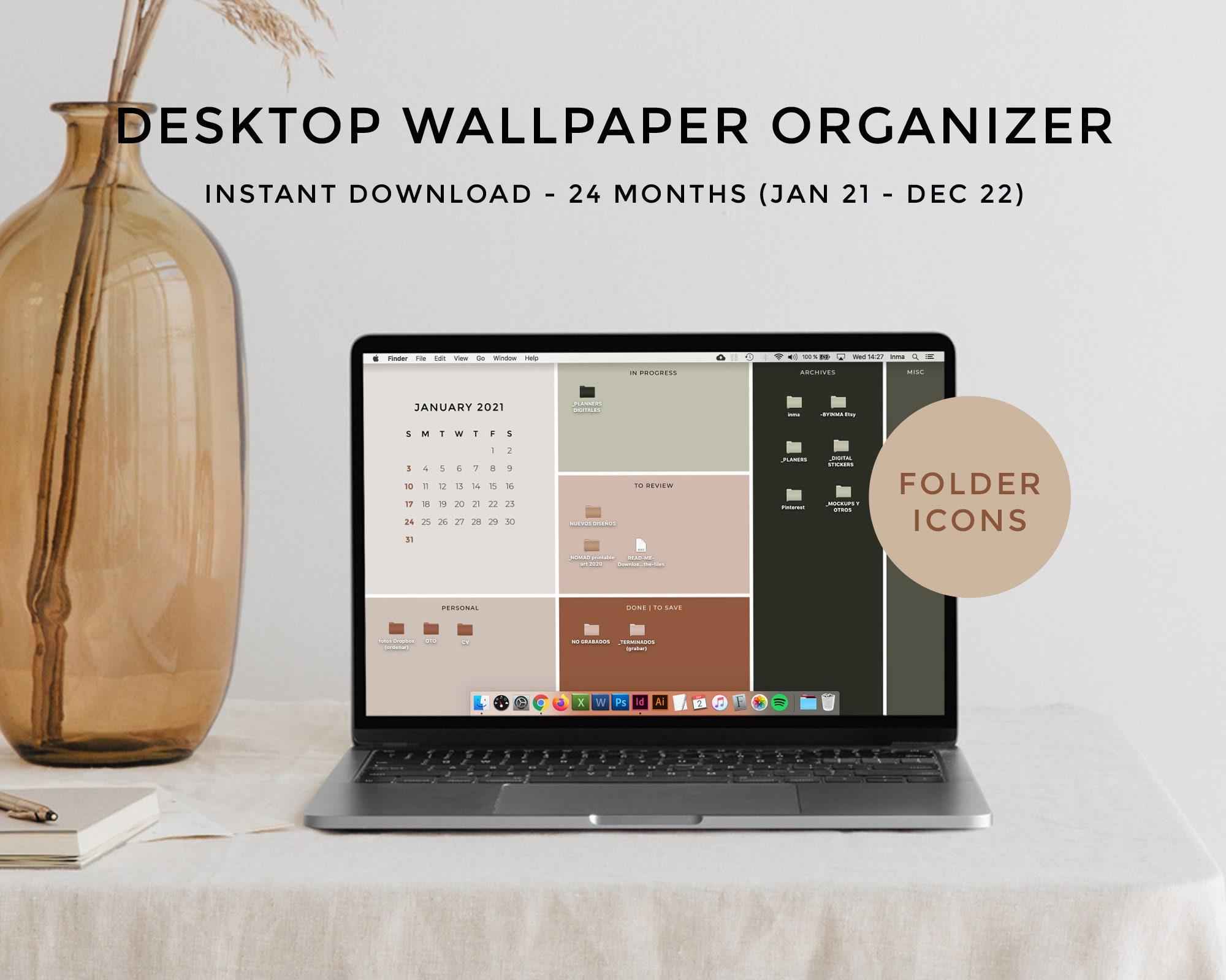 Desktop Wallpaper Organizer Calendar 2021 2022 Minimalist Etsy