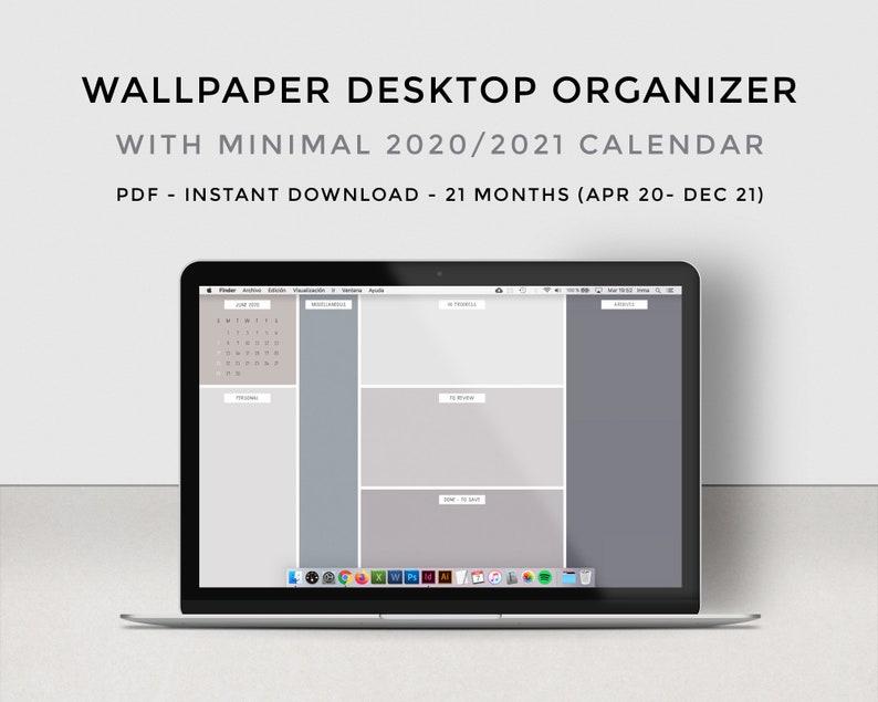 Desktop organizer wallpaper calendar 2021 Minimalist ...