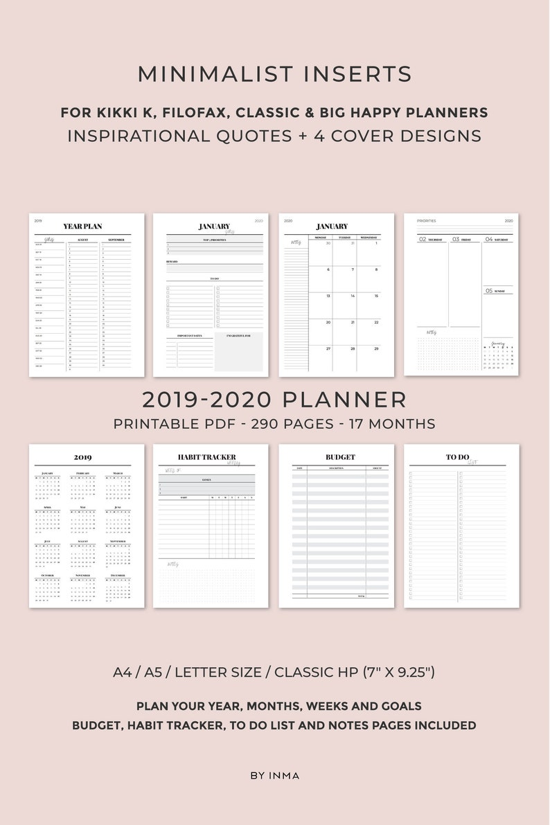 image relating to Printable Embroidery Placement Ruler titled 2019 2020 Planner Printable, Minimalist planner, Month to month Planner, Weekly Planner, Printable Planner Internet pages, Kikki k inserts, Filofax inserts