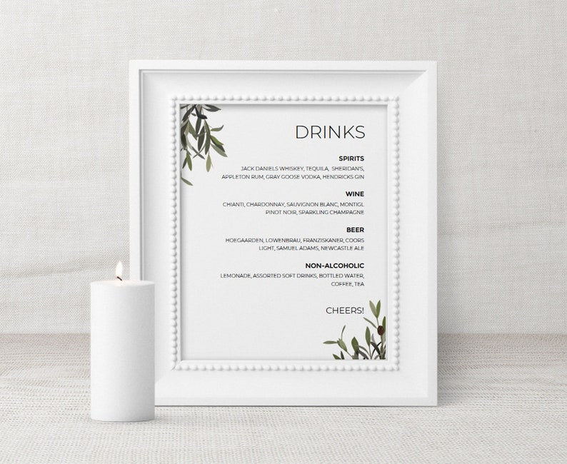 Greenery Wedding Drink Sign, PRINTABLE Bar Menu Wedding Sign, Bar Menu  Template, Wedding Bar Sign Olive branch drink list  8x10 EDITABLE PDF