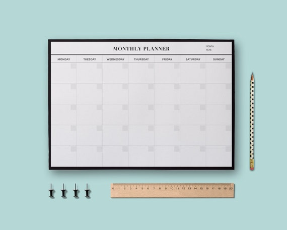 Minimalist Planner Printable Monthly Student Undated Calendar A4 Letter