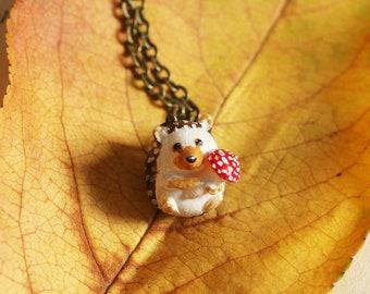 Hedgehog necklace, tiny hedgehog with mushroom, Fly-agaric jewelry, miniature hedgehog, forest animal jewelry, hedgehog pendant hedgie charm