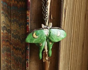 Luna Moth necklace, Luna moth pendant, realistic Moth jewelry kid jewelry moth forest art butterfly pendant moth pendant moth