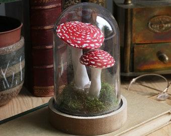 Mushroom glass dome, fly-agaric decoration, Mushroom sculpture, Fly agaric sculpture