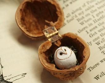 Baby barn owl necklace in a nutshell box, baby owl handmade animal bird polymer clay owl figurine hand painted miniature doll owl pendant