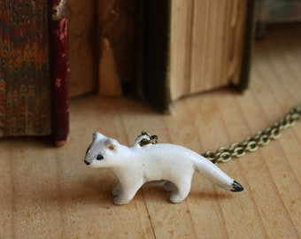 Ermine necklace, Weasel necklace, stoat jewelry, weasel totem spirit animal, stoat pendant, stoat miniature necklace, ferret necklace