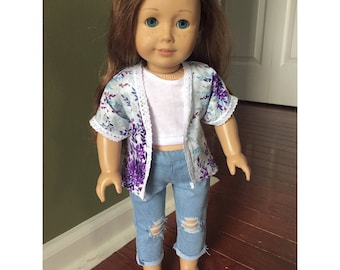 Floral Kimono Cardigan made to fit 18 inch dolls such as American Girl dolls