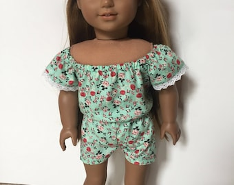 Blue/Green Floral Romper made to fit 18 inch dolls such as American Girl dolls