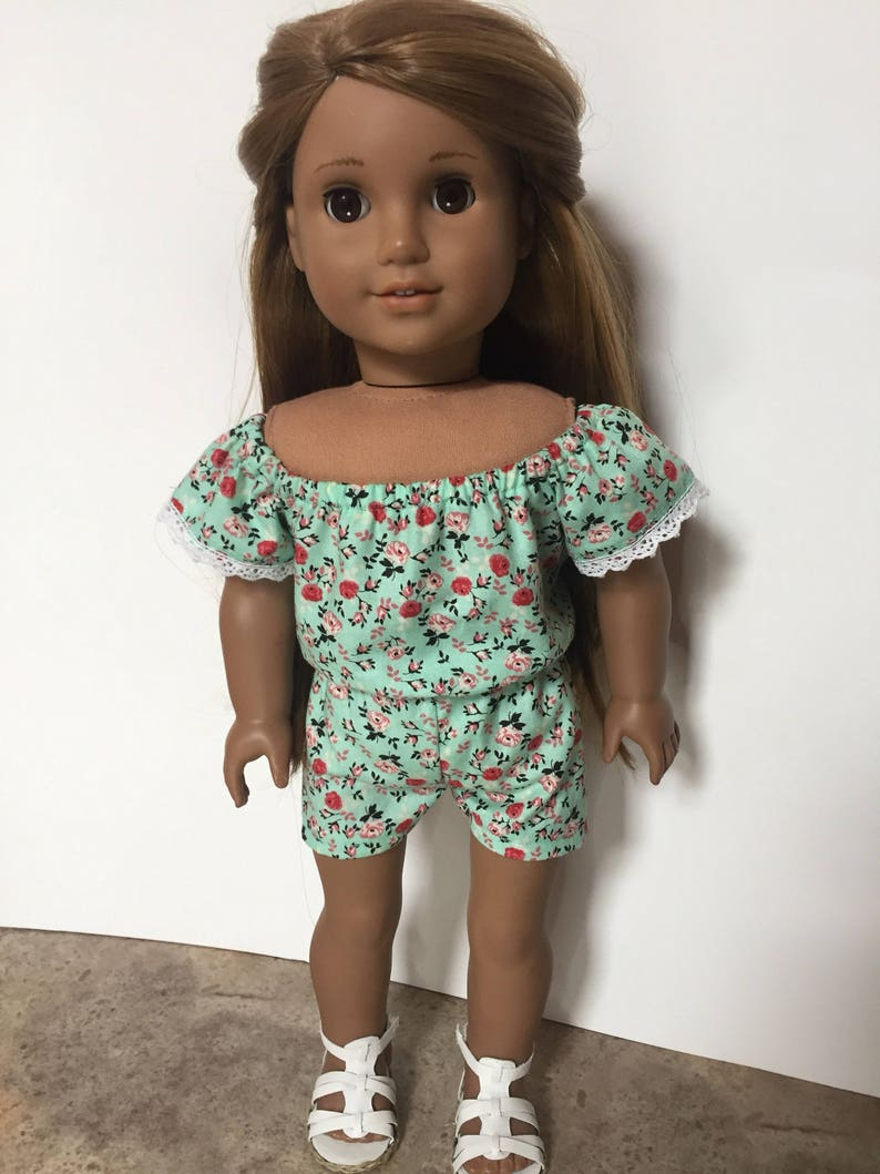 ebce8d3c2bd Blue Green Floral Romper made to fit 18 inch dolls such as