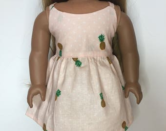 Pineapple Dress made to fit 18 inch dolls such as American Girl dolls