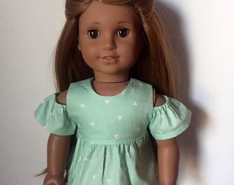 Green Open Shoulder Top made to fit 18 inch dolls such as American Girl dolls