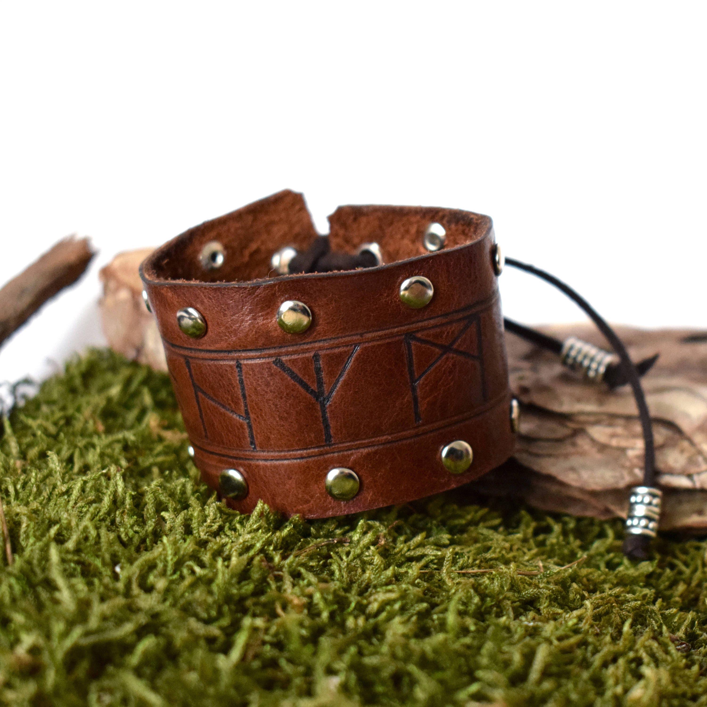 Rune Leather Bracelet With Dome Studs Viking Bracelet Rune Etsy
