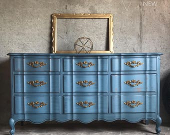 Your CUSTOM French Provincial Dresser/Bedroom Furniture/Painted Furniture/Chalk  Paint Furniture/ Dresser/ Blue Dresser
