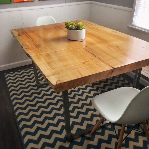 Live Edge Dining Table/ Maple Table/Wood Dining Table / Live Edge Slab/live  edge wood/live edge kitchen table