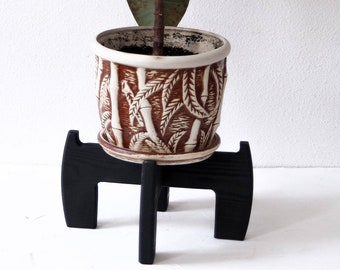 cf6551fcad7d Black wood plant stand indoor - Adjustable for pots from 4 to 16 inches, Wood  plant stand, Mid century plant stand, Indoor plant stand