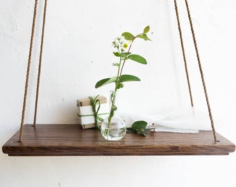 Hanging Shelf, Rope Shelf, Wood Wall Shelves, Plant Holder, Decorative Wall  Shelves