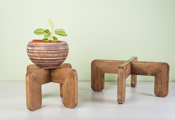 Set of 2 wood indoor plant stands - Rustic plant stand, Mid century plant  stand, Indoor plant stand, Plant pot stand, Wooden plant stand