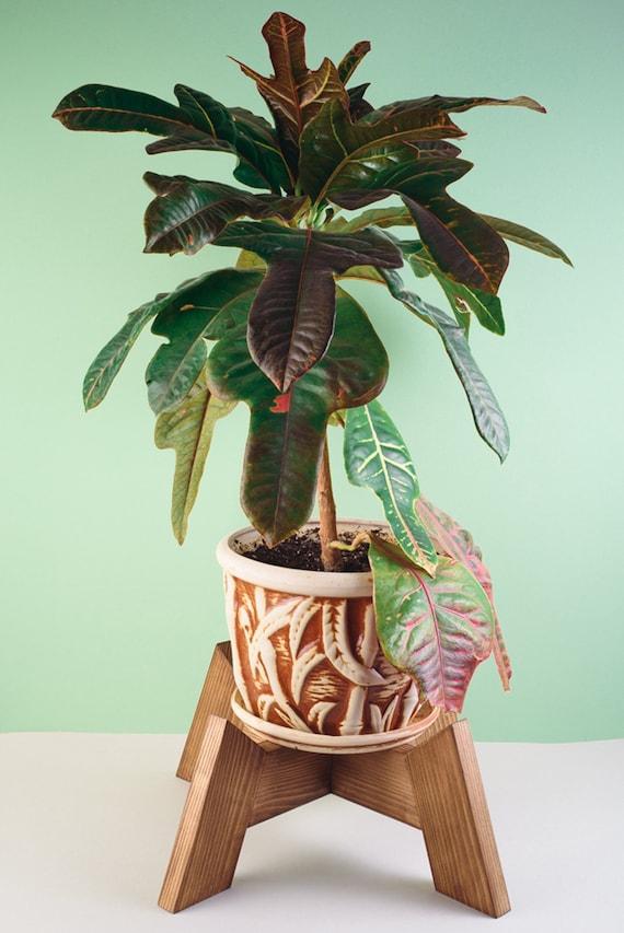 Naturel Plante et Pot Non Inclus Support de Pot de Fleurs en Bois du Milieu du si/ècle Rustique pour Pots de Fleurs jusqu/à 20,3 cm
