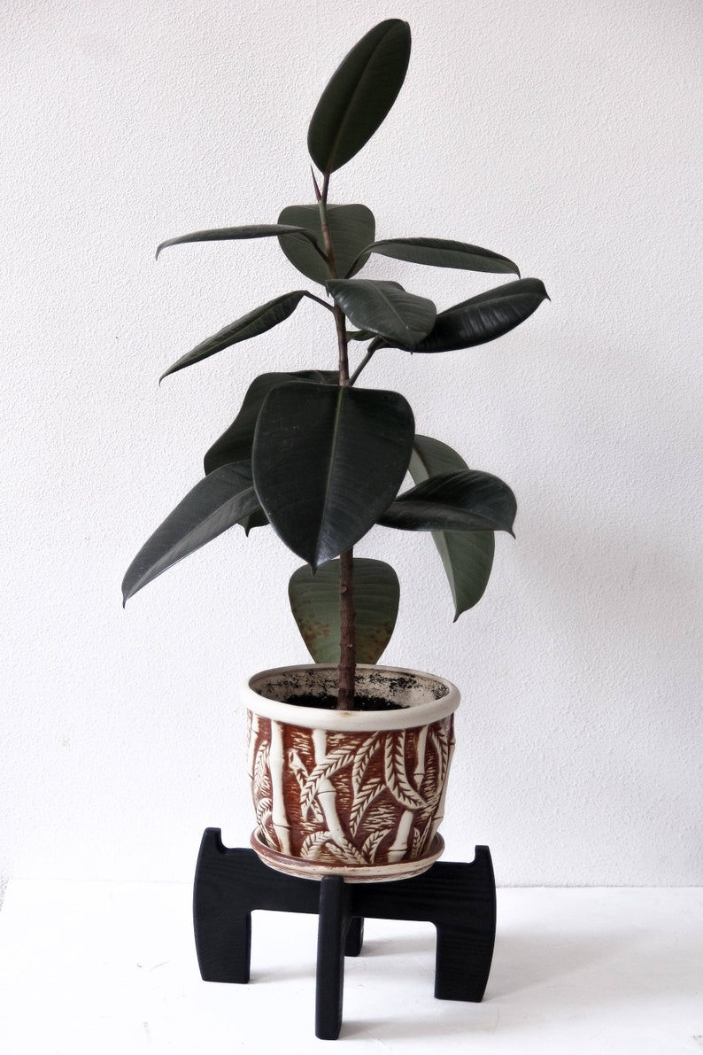 15dc1c899b49 Black wood plant stand indoor Adjustable for pots from 4 to   Etsy