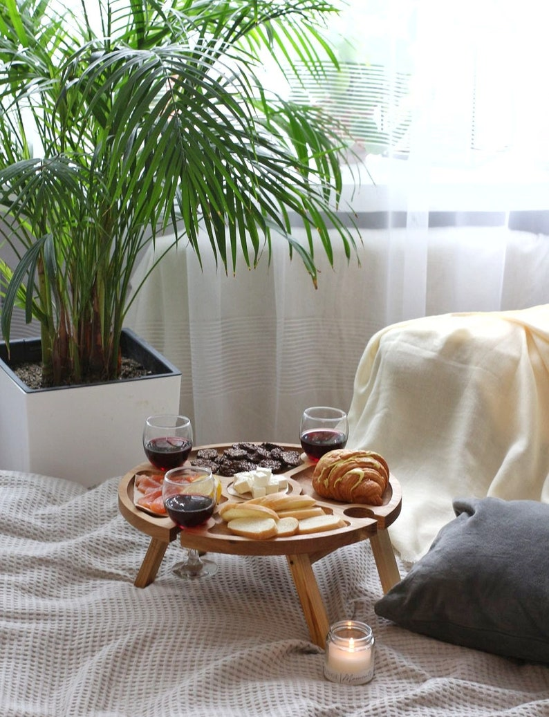 Outdoor wine table Wooden Wine Rack Portable Wine bottle image 3