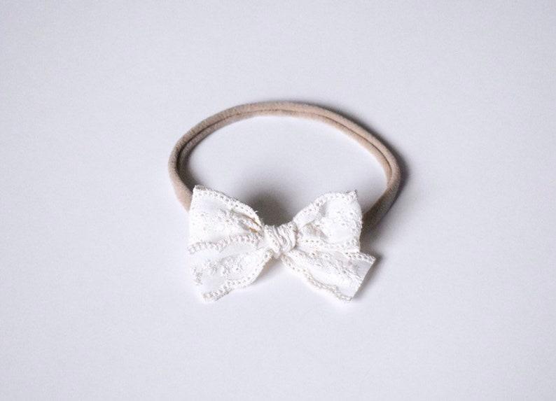handmade Lace bow headband baby bows nylon headband