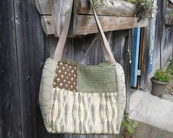 Upcycled Handbag, Handmade Shoulder Bag, Large Tote, Carry All Patchwork, Travel Bag, Knitting Bag