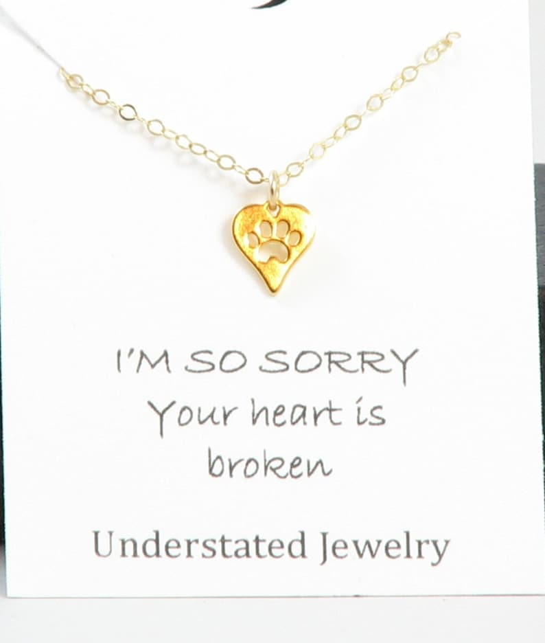 Understated Jewelry Pet Loss Jewelry 14k Gold Fill Pet Memorial Necklace Sterling Silver Paw Print Necklace