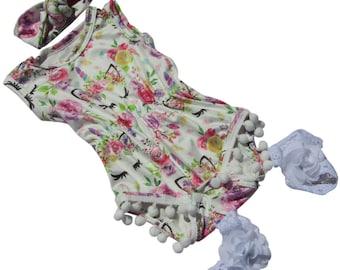 Infant baby pompom romper girl summer clothes 0-3 months barefoot sandels headband set