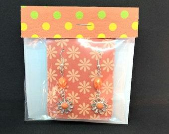 Jewelry gifts for her, earring sets, earrings handmade, sterling silver earrings, sun earrings, orange dangle earrings, summer earrings