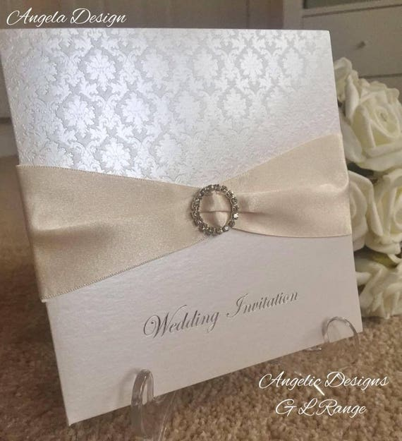 Pattern Foil Wedding Invitations With Buckle And Satin Ribbon Handmade Pocket Invites Many Colour Options