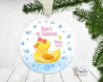 Baby gift Duck ornament Hand Stamped Ornament Baby ornament. Baby/'s First Christmas Rubber ducky