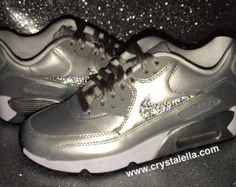 0796b2f1cb00 Swarovski Crystal Metallic Silver Unique Nike Air Max 90 - Crystalella  Collection - New   100% Authentic