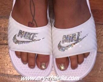 3e710014d77c Nike Benassi Sandals Slides in White with Swarovski Silver Crystals