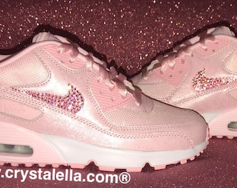 b87b75c5a603 Nike Air Max 90 s in Baby Pink with Swarovski Pink Crystal Ticks