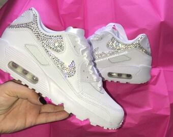 5a6818c8972 Swarovski Crystal Nike Air Max 90's White Diamond Gym Kicks - Brand New &  Authentic