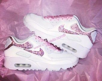 d55e491d10c7 Pink Swarovski Crystal Nike Air Max 90 s in White Diamond Gym Kicks - Brand  New   Authentic