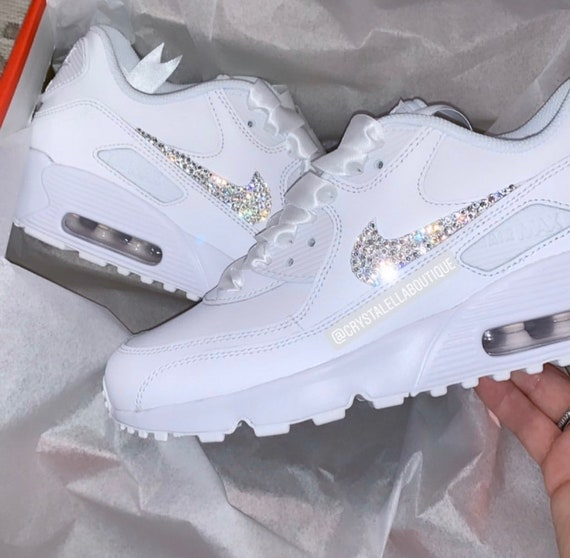 Nike Air Max 90's in White with Swarovski Silver Crystals