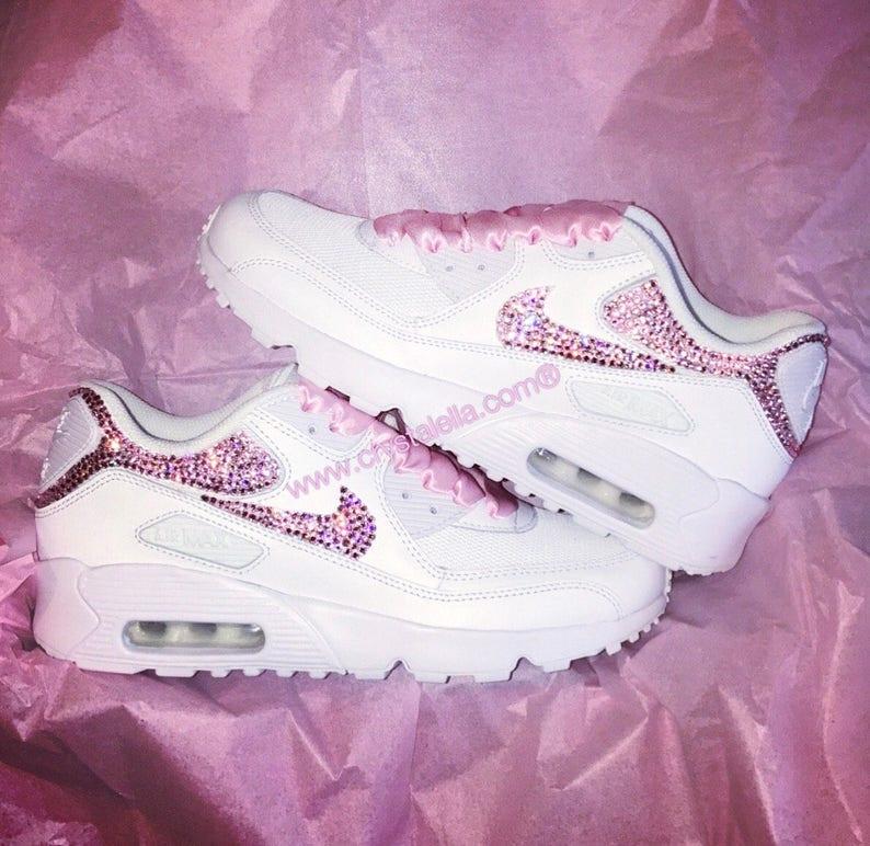 10883276f9541 Pink Swarovski Crystal Nike Air Max 90's in White Diamond | Etsy