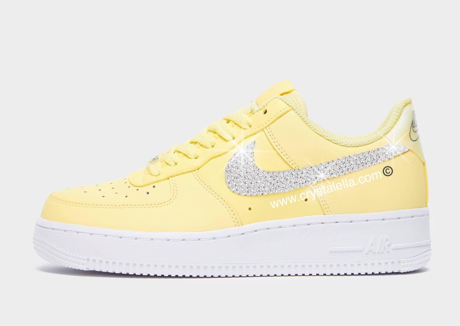 Yellow Nike Air Force 1's Swarovski Crystallised in Certified SilverClear Swarovski Crystals