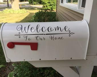 Mailbox decal // Welcome sign // Welcome to our home decal // home decor // spring decorating