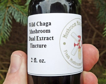 2 oz Chaga Organic Double Extraction Tincture, Wild Harvested with Free Shipping