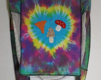 Upcycled Tie Dye Mushroom Hunting Messenger Mesh Bag with Handmade, Hand-stitched Folk Art Felt Morel, Chanterelle, Amanita Muscaria