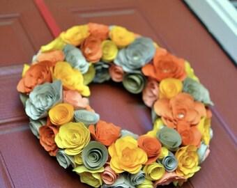 Paper flower wreath etsy paper flower wreath mightylinksfo