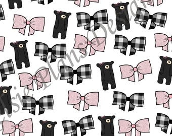 Glitter Bow Paper - Sleepy Black Bear loves Pink