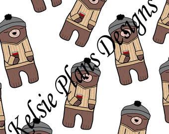 Sleepy Bear Sweater Digital Paper